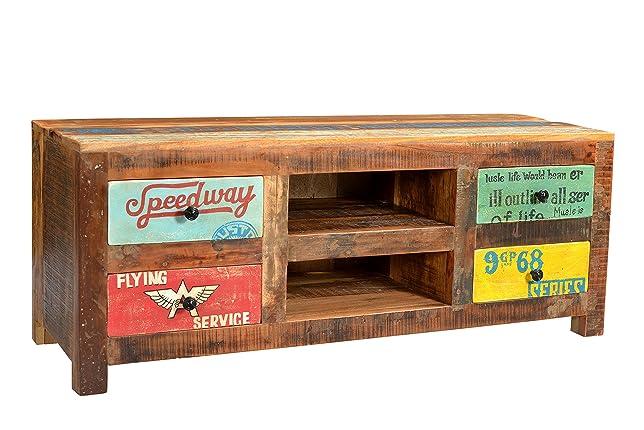 Sit-Möbel 5721–98basso Speedway, 130x 40x 50cm, legno riciclato, laccatura multicolore