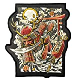 Ronin Oni Bushi Patch - Samurai Tactical Backpack Patch - Woven Cut Out Custom Patches for Backpack and Jackets - 6 ¾ x 8-inch BJJ Patch with Piping Border - Cool Warrior Patch Display