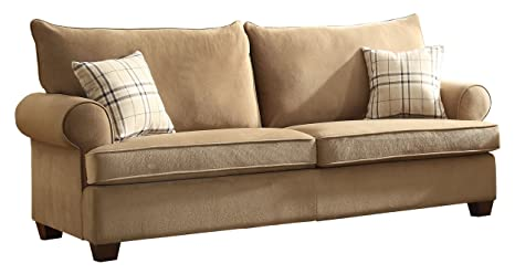 Homelegance 9679-3 2-Seater Textured 100-Percent Polyester Fabric Sofa, Brown