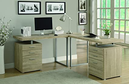 NATURAL RECLAIMED-LOOK 3PC DESK SET (2 desks + 1 corner wedge) (SIZE: 72L X 72W X 30H)