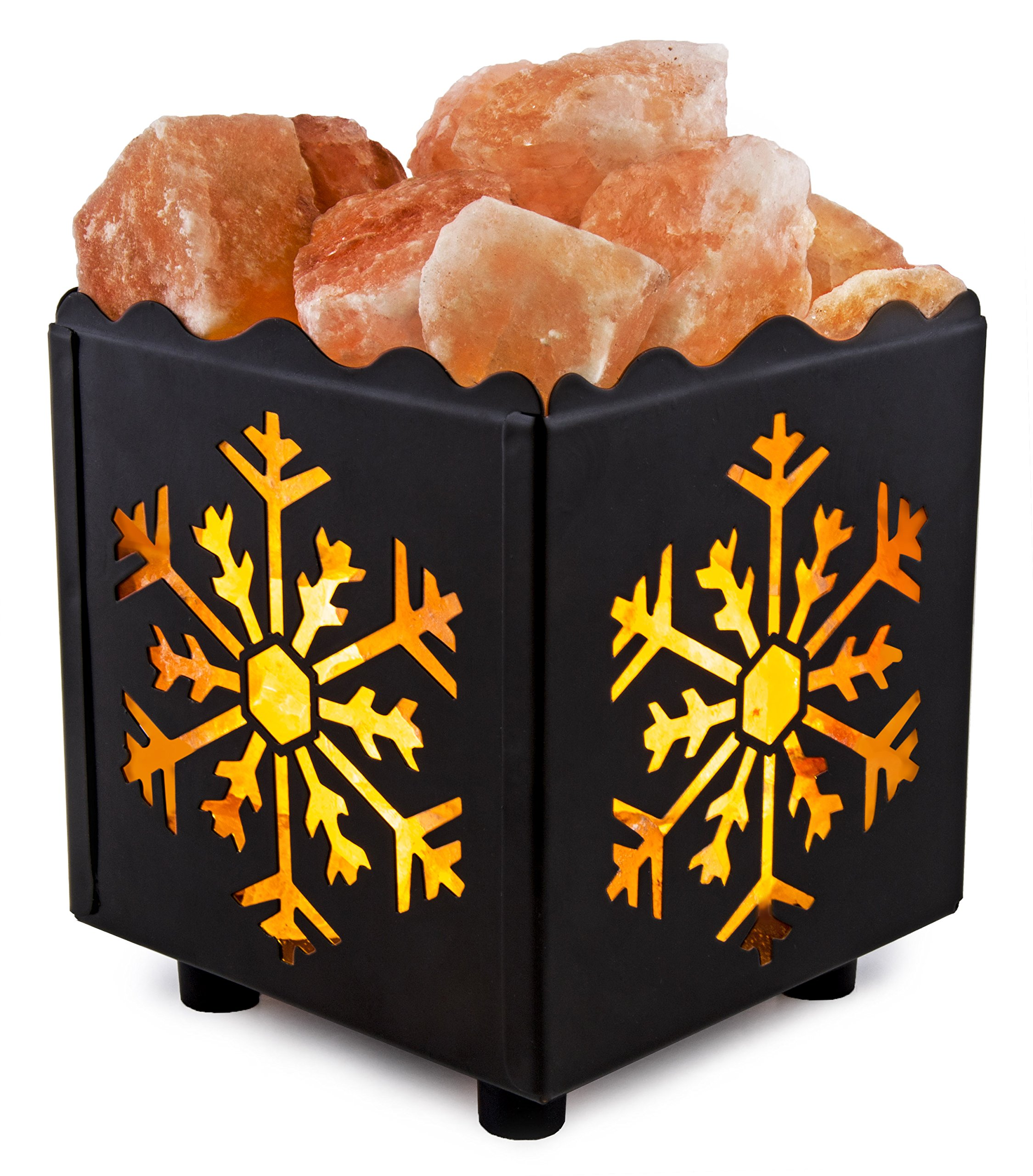 Crystal Decor Natural Himalayan Salt Lamp in Snowflake Design Metal Basket wi... Chickadee ...