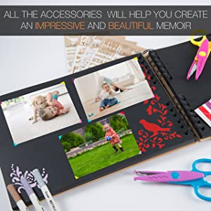 Scrapbook Photo Album DIY Kit,I Deal Wedding, Anniversary Book Family Memory Box w/Accessories - Keep Favorite Memories Alive - 80 Thick Pages, 320 Photos - Scrapbooking Birthday or Graduation Gift (Tamaño: 14L x 9.7W x 1.8H)