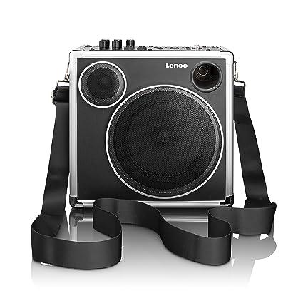 Lenco PA-45 Tragbares Soundsystem mit Bluetooth, USB und SD-Kartenleser, Trageriemen, AC-Kabel, 30 Watt (RMS), Gitarreneingang, AUX-Eingang, Mikrofonbuchse, Netz/Batteriebetrieb
