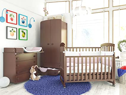 """Babyzimmer """"WARSAW"""" Art.-Nr.: 01.03; 22.03; 27.1.03, Kinderzimmer Komplett Set 3-tlg., in Walnuss, Kleiderschrank B: 90 cm, Wickelkommode B: 90 cm, Babybett Liegefläche 60 x 120 cm"""