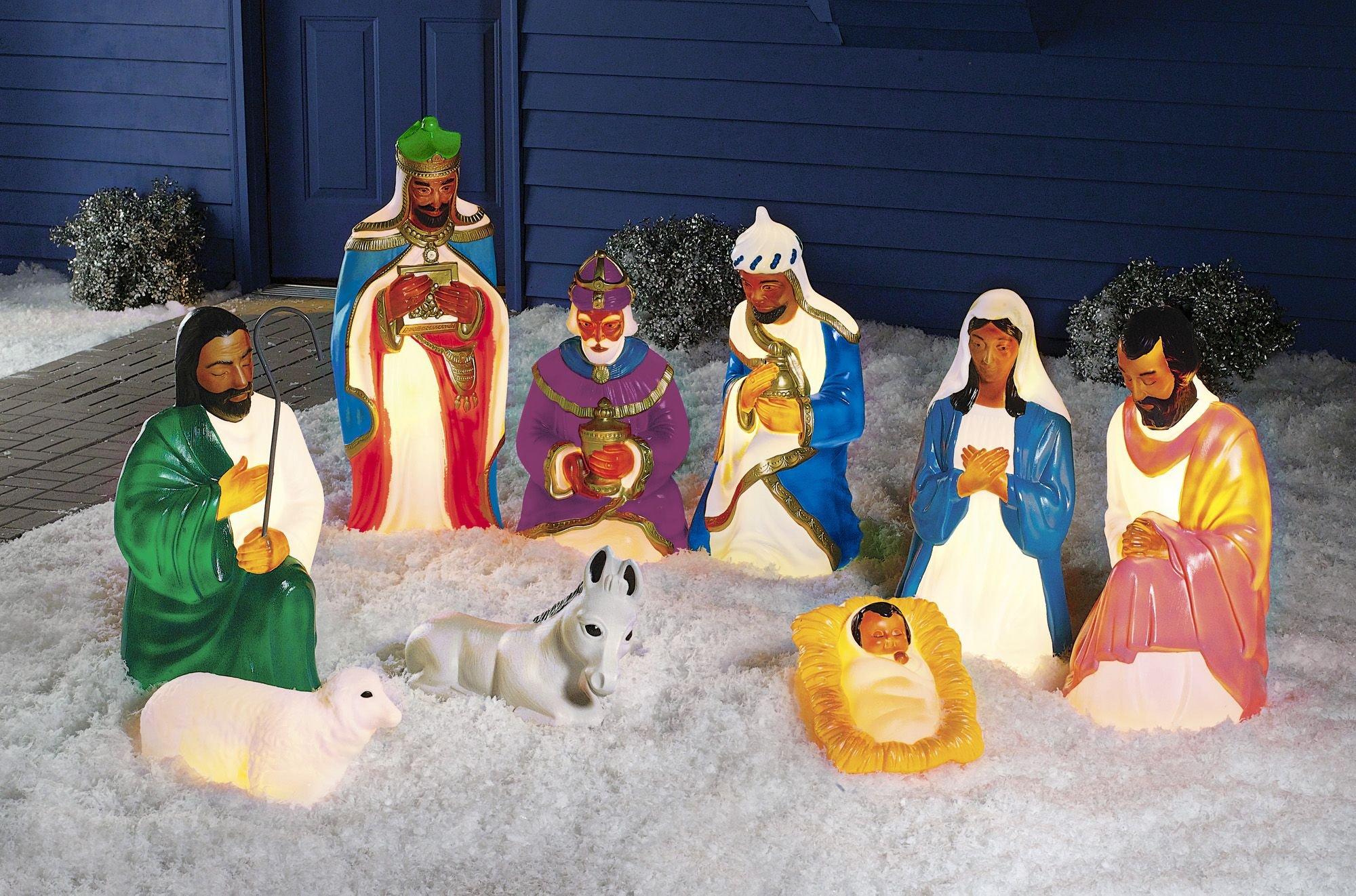 9 Piece African American Nativity Set Baby Jesus Mary