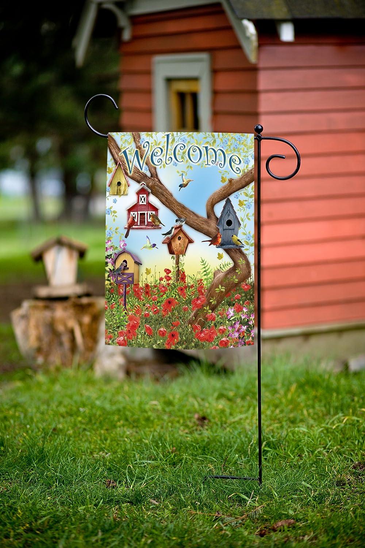 Toland Home Garden Poppies And Birdhouses Garden Flag