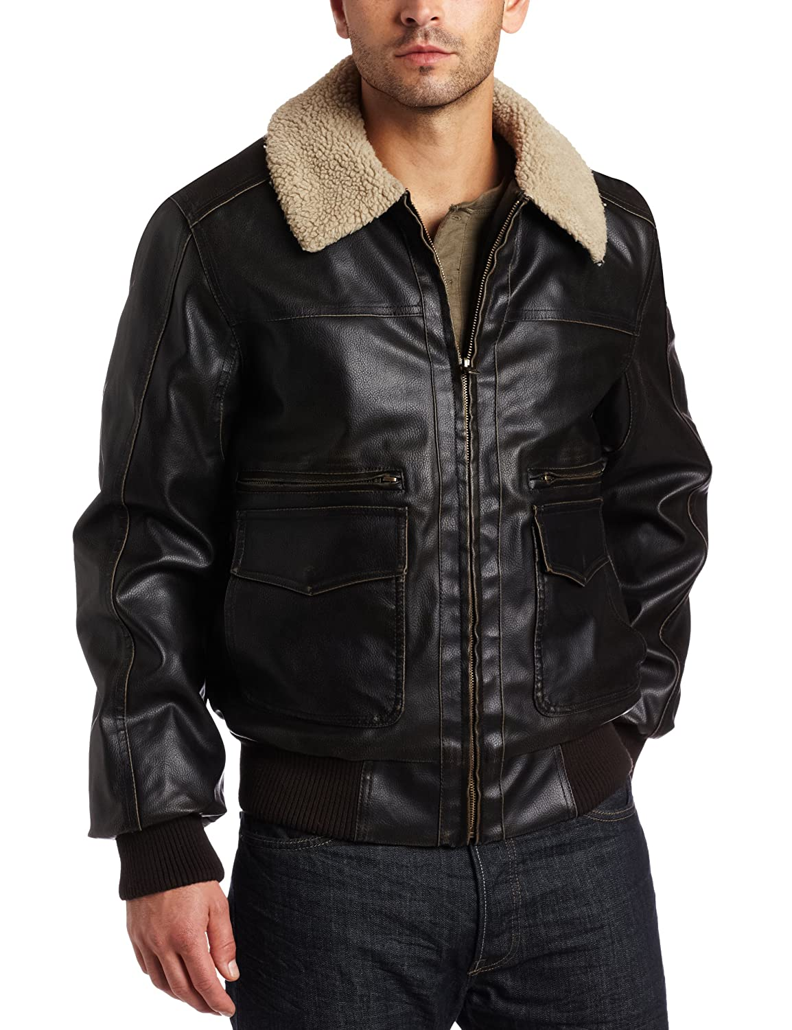 Levis Men's Faux Leather Aviator Bomber
