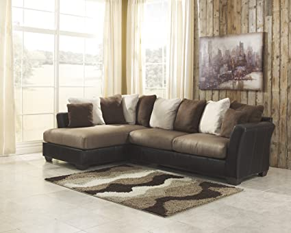 Masoli Contemporary Brown Microfiber Left Chaise Sectional Sofa