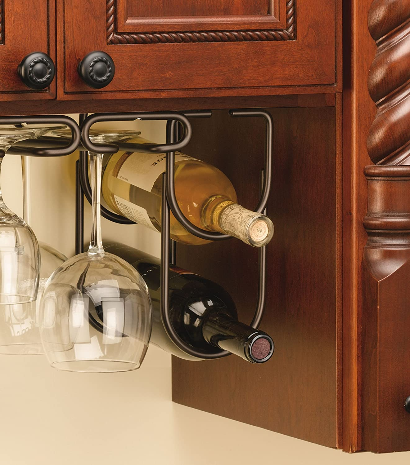 Under Cabinet Double Wine Bottle Rack Holder Oil Rubbed
