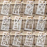 12 Pieces Drawing Loose Leaf Stencils Scale Template Sets Journal Diary Notebook 8-Ring Paper Inserts for Painting Card Craft Projects and Scrapbooking DIY Albums (Style 1) (Color: Style 1)