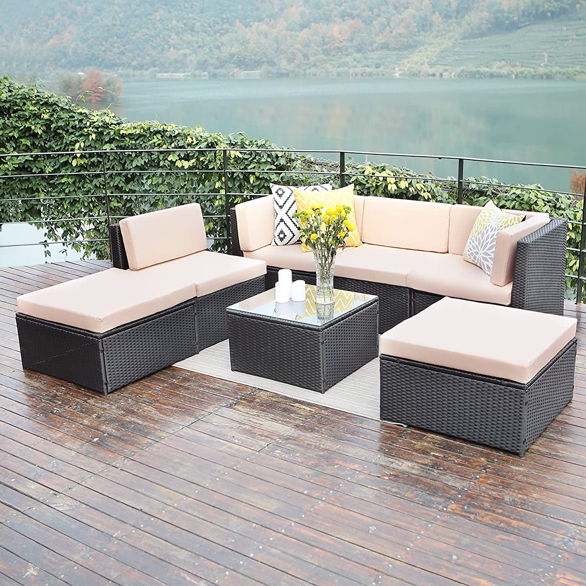 Wisteria Lane Outdoor patio furniture sets, 7 PC Wicker Sofa Set Garden Rattan Sofa Cushioned Seat with Glass Table,Black