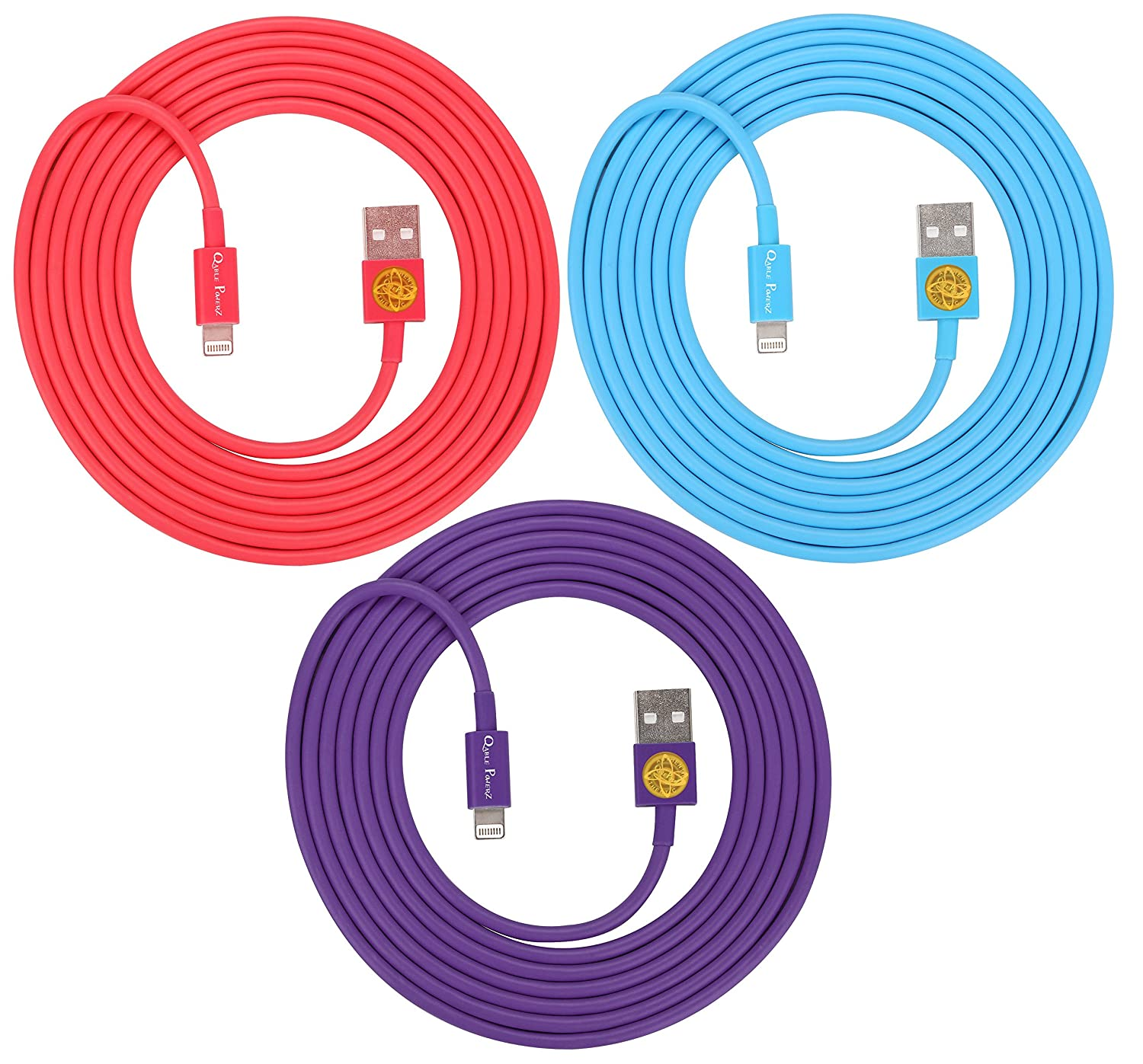 цены на 3PCS of HEAVY-DUTY Lightning to USB Sync Charger Data Cable Cord 6ft / 2m for iPhone 5s / 5c / 5, iPhone 6 / 6plus, ipad Air / Mini / iPod Touch 5 and Nano 7(purple. red. blue) в интернет-магазинах