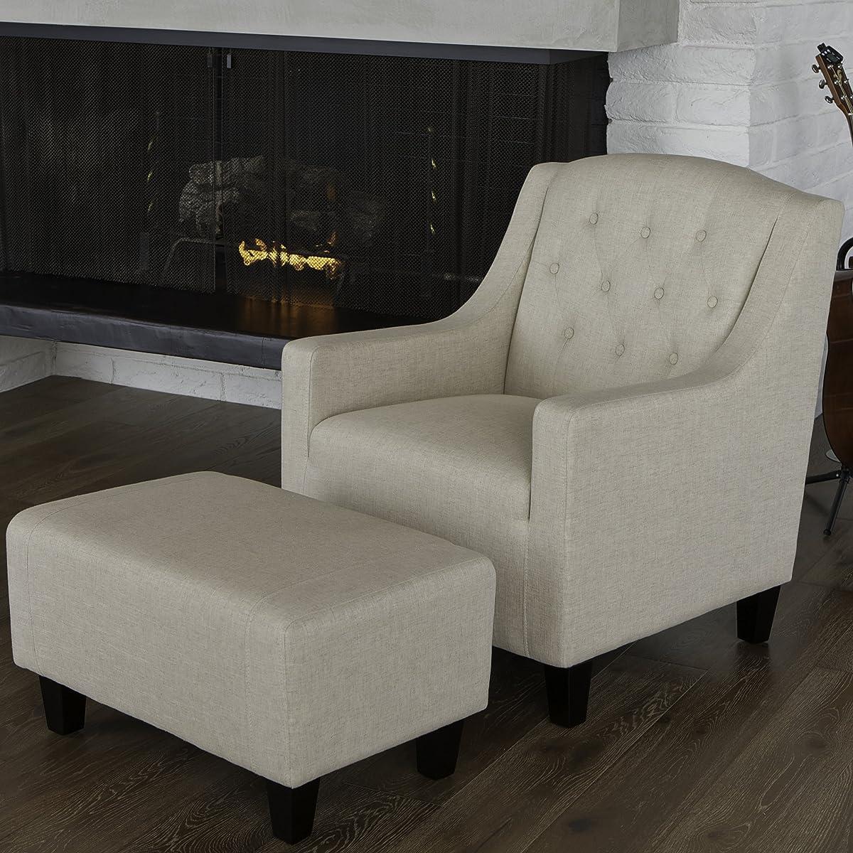 Empierre Beige Linen Club Chair & Footstool Set