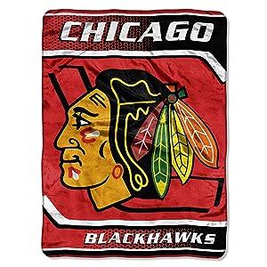 NHL Chicago Blackhawks Banner Royal Plush Raschel Throw Blanket, 60x80-Inch