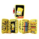 Simpsons Filled Pencil Case, 2 Layer Pencil Case!Official licensed (Color: Yellow, Tamaño: 20cm x 13cm (7.8