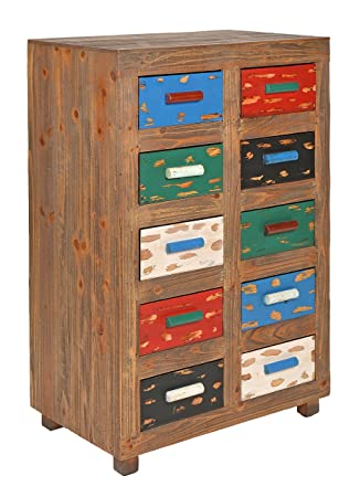 ts-ideen Cómoda estante armario vintage antiguo look esado marron con 10 cajones de colores