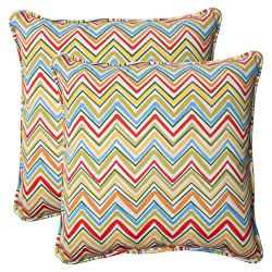 Pillow Perfect Indoor/Outdoor Cosmo Chevron Corded Throw Pillow 18.5-Inch Multi Set of 2