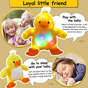 Bstaofy Light up Duck Stuffed Animal Yellow Ducky Plush Toy Bedtime Companion Afraid of Dark Birthday, 13'' (Color: Style 1, Tamaño: 13 inches)