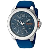 BOSS Orange Men's 'NEW YORK' Quartz Stainless Steel and Silicone Casual Watch, Color:Blue (Model: 1513348)