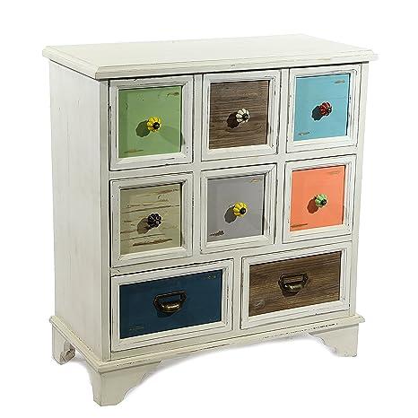 Kommode White Color mit 8 Schubladen 71x:78,5x34cm Antik Vintage Shabby Patchwork