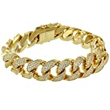 Iced Out Miami Cuban Bracelet 18mm Mens Hip Hop Designer 18k Gold Filled 9.0