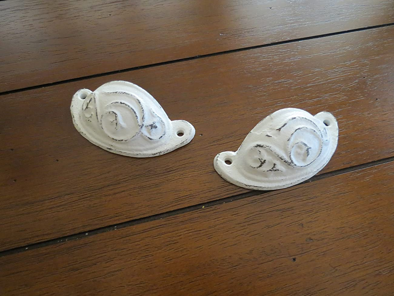 Dresser or Cabinet Knobs / Cast Iron Pulls / Antique White or Pick Color / Vintage Style Handles	 3