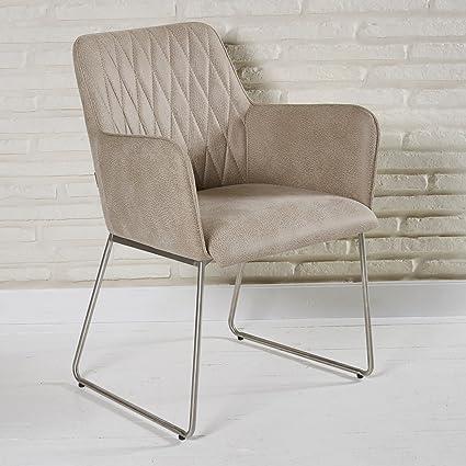 Eleganter Polsterstuhl aus Lederimitat fur Wohnzimmer und Esszimmer - Sitzmöbel Lounge Designer Sessel in beige mit Armlehnen