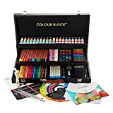 COLOUR BLOCK Deluxe 181 Piece Mixed Media Art Set in Wooden Case, with Soft & Oil Pastels, Acrylic & Watercolor Paints, Sketching, Charcoal & Colored Pencils, Coloring Card and Tools (Color: Grey, Tamaño: 181pc All Media Wooden Case Set with Coloring Card)