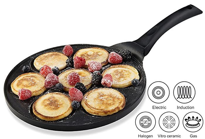 Gourmia GPA9515 Blini Pan With Induction Bottom Nonstick Silver Dollar Pancake Maker via Amazon