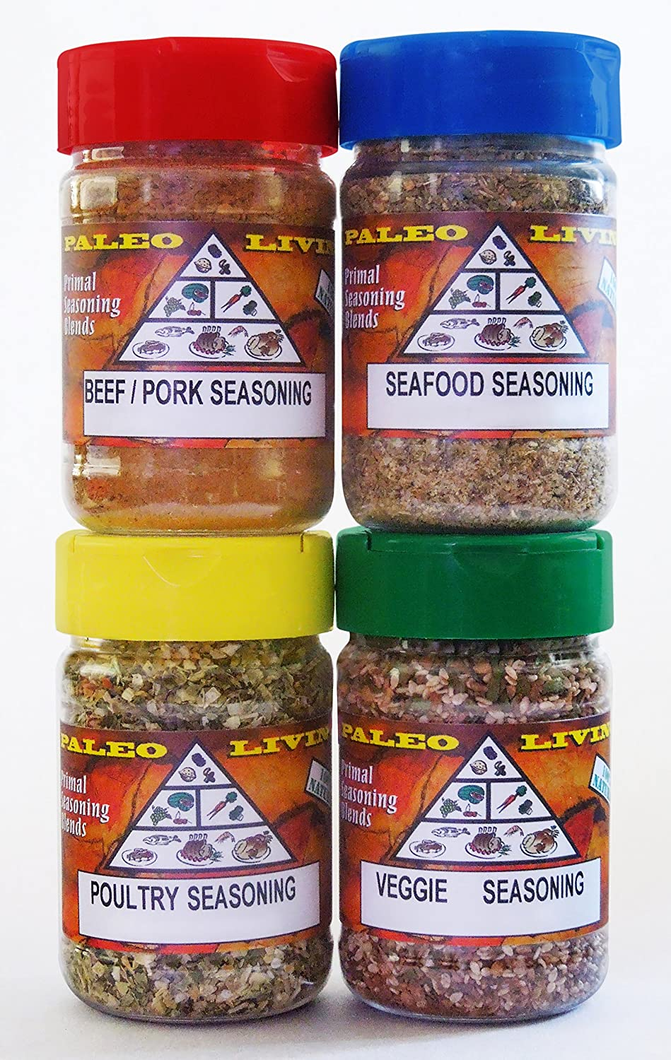 Paleo - Whole 30 - Crossfit - Spices by PALEO LIVING PRIMAL BLENDS Collection {LIMITED EDITION 4-Combo Pack Jars Seasonings Set} can be used for Cooking, Grilling, Baking, & with Cookbooks backed with 100% Customer Guarantee
