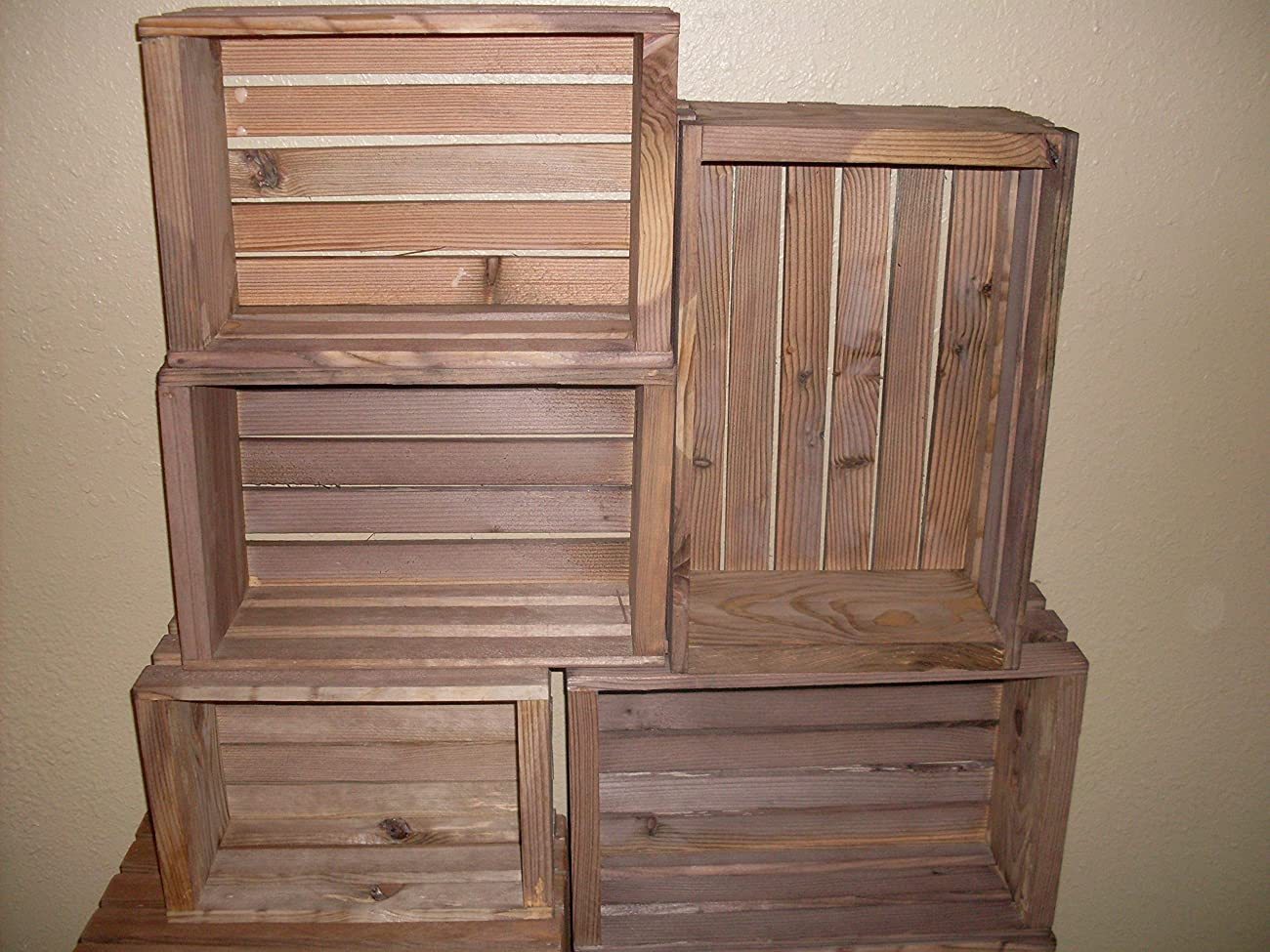 Rustic Nesting Wood Crates Set of 5 Made in the USA 0