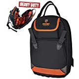 Rugged Tools Tradesman Tool Backpack - 28 Pocket Heavy Duty Jobsite Tool Bag Perfect Storage & Organizer for a Contractor, Electrician, Plumber, HVAC, Cable Repairman (Black/Orange) (Color: Black/Orange)