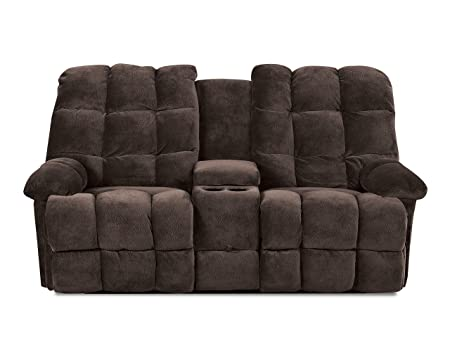 Klaussner BROWNSVILLE Console Reclining Loveseat, Chocolate