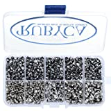 RUBYCA 570 Sets Czech White Clear Crystal Rapid Rivets Silver Color Metal Studs DIY LeatherCraft Kit (Color: White Clear, Tamaño: Mixed Sizes)