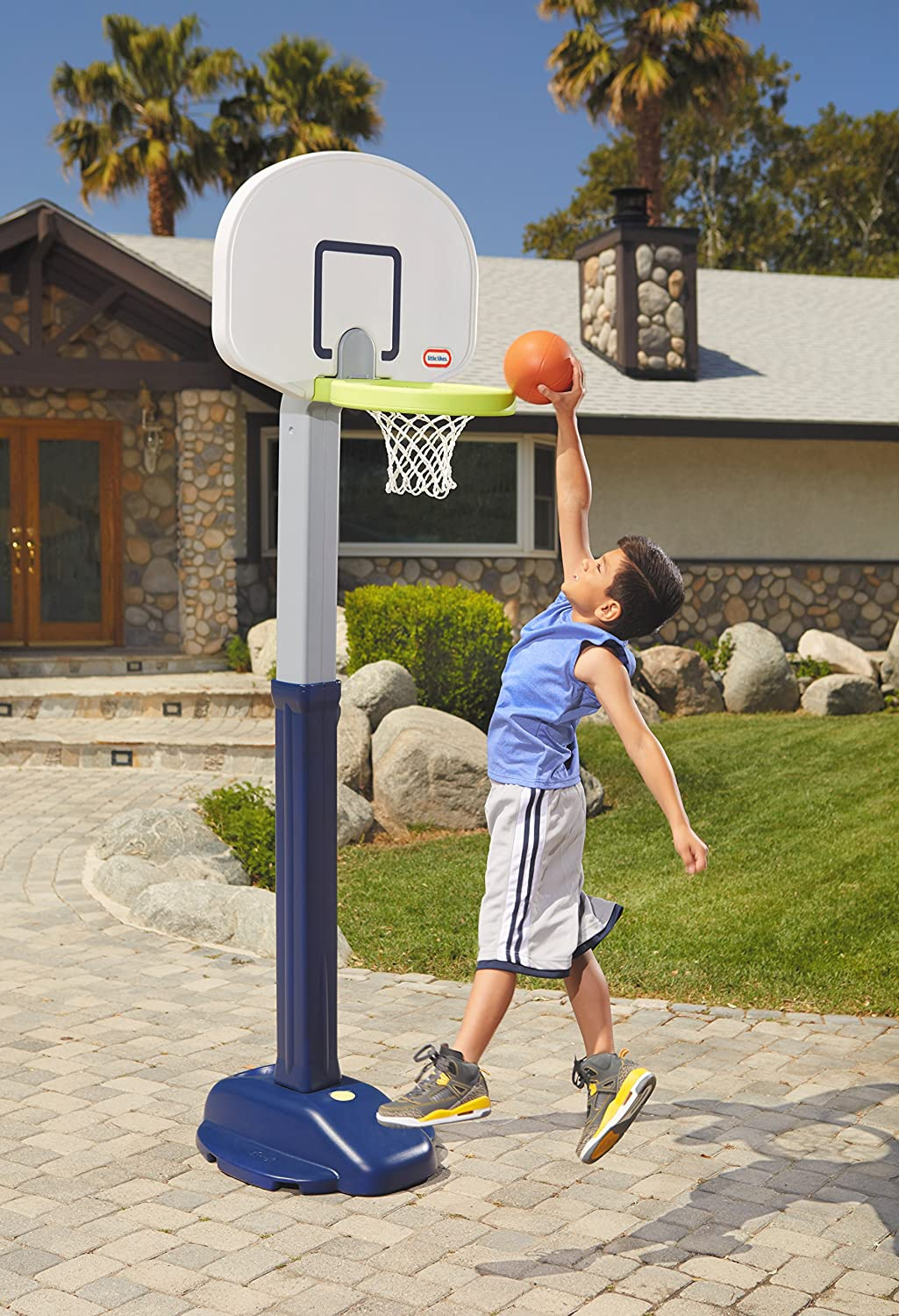 An Image of Little Tikes Adjust and Jam Pro Basketball Set, Blue