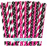 Outside the Box Papers Diva Theme Stripe and Polka Dot Paper Straws 7.75 Inches 100 Pack Hot Pink, Black, White (Color: Hot Pink,Black, White)