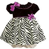 Bonnie Baby-Girls Infant Stretch Velvet Bodice To Zebra Print Taffeta Skirt