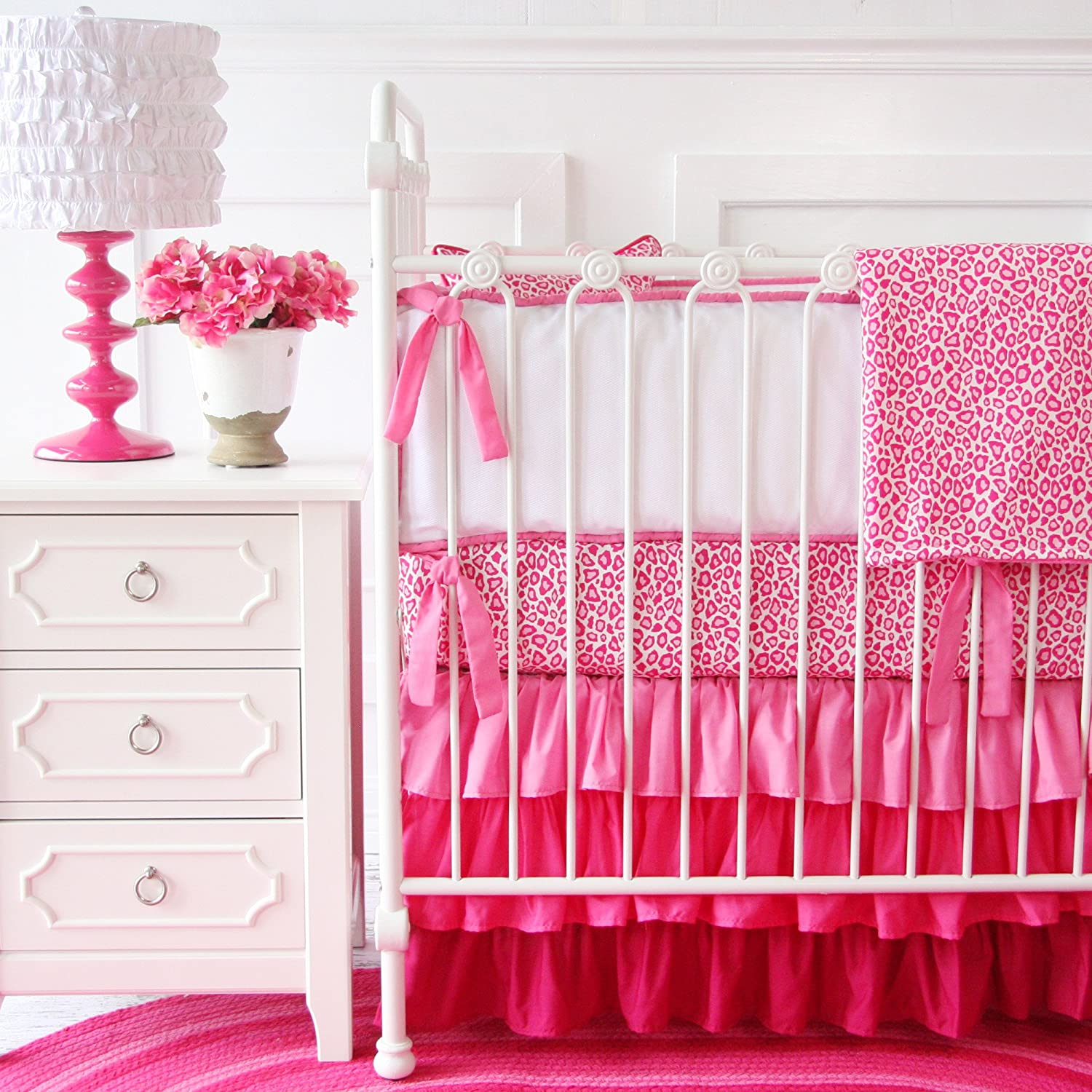 Caden Lane Girly Pink Leopard Baby Bedding