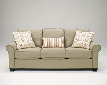 Lucretia Sand Fabric Upholstery Cottage Style Sofa Couch With Welt Detailing