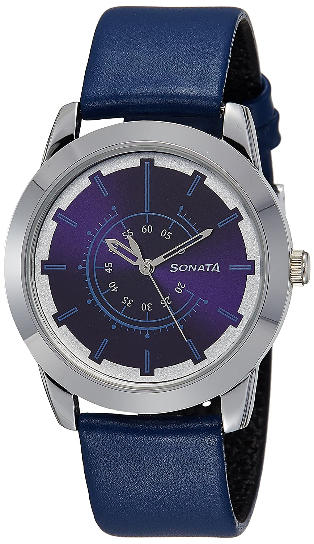 Sonata Analog Blue Dial Men's Watch (7924SL08)