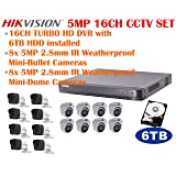 5MP TURBO HD Hikvision 16CH CCTV System with 16CH DVR + 6TB HDD, 8x 5MP IR 2.8mm lens Outdoor Mini-Dome Cameras and 8x 5MP IR 2.8mm lens Outdoor Mini-Bullet Cameras