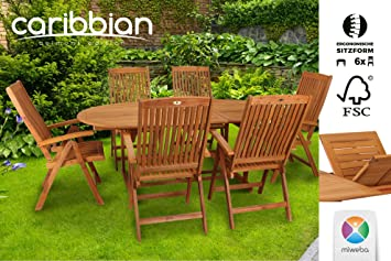 Salottino Belmont Set da giardino sedile set tavolo 6persone Set di mobili per esterni da giardino in legno