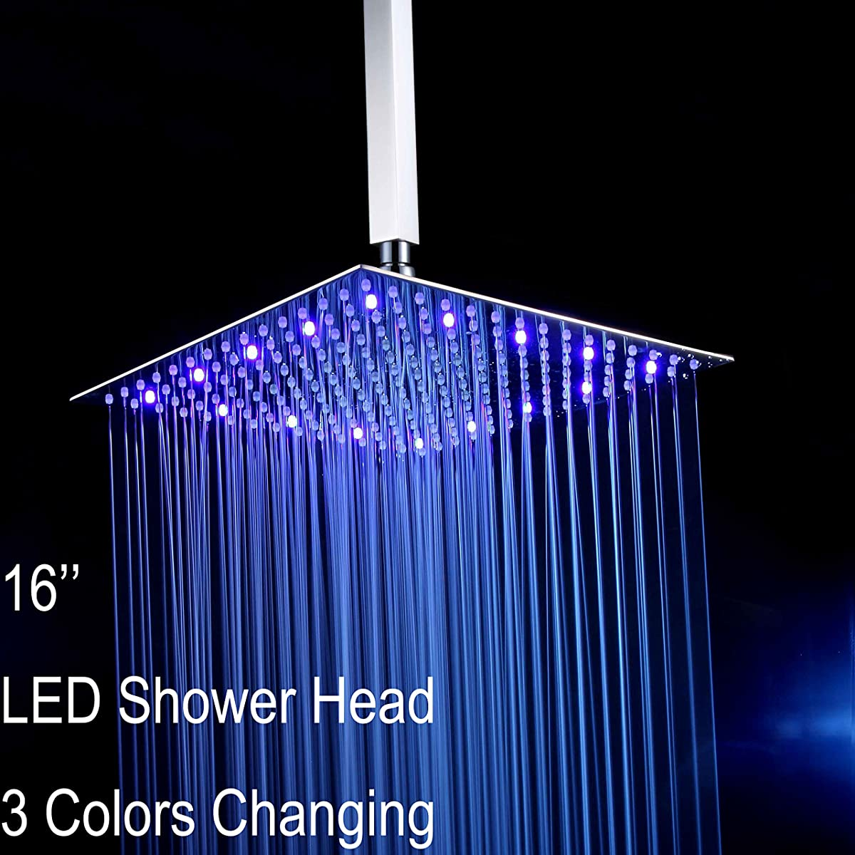 "Fyeer 16"" Ultra-thin Ceiling Mounted Square LED Fixed Rainfall Shower Head (Shower Arm Not Included), 3-LAYER Brushed Nickel 304 Stainless Steel, Temperature Sensor 3 Colors Changing"