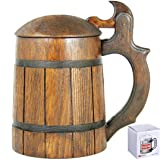 Medieval German style Beer Stein with Lid 20 oz. Renaissance Oktoberfest Wooden Mug for Men. Old Times Fashioned Coffee Drinking Cup. Authentic Wood Tankard with Handle. Fathers Day Birthday Gift (Color: Beer Stein with Lid Brown, Tamaño: 20 oz)