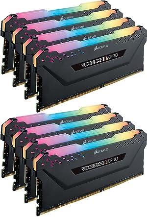 CORSAIR Vengeance RGB PRO 64GB (8x8GB) DDR4 2666MHz C16 LED Desktop Memory - Black (Color: RGB PRO - Black, Tamaño: 64GB (8x8GB))