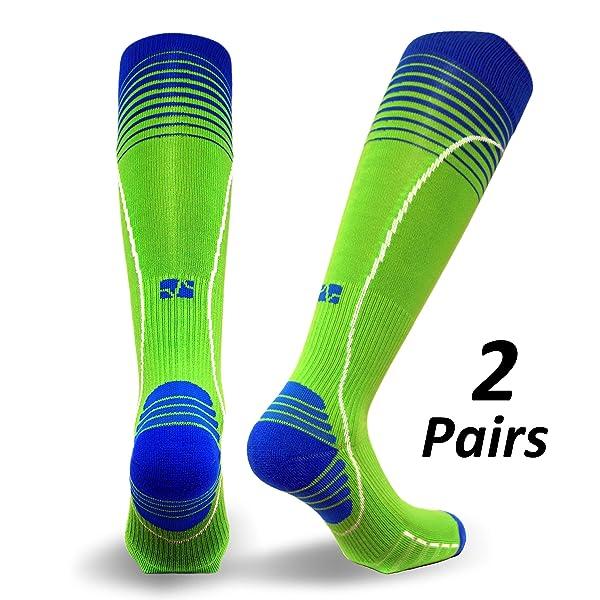 Vitalsox Silver Drystat Graduated Compression Socks (2 Pack), Green/Green, Small (Color: Green/Green, Tamaño: Small)