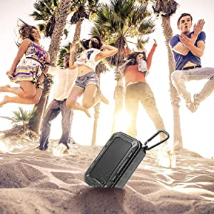 Portable Speaker Bluetooth Wireless Speakers V4.2 IP67 Water Dust Proof 33 ft Bluetooth Range Built-in Power Bank and Mic Waterproof Speaker for Outdoors,Hiking,Running,Shower, Travel,Camping (Color: Black)