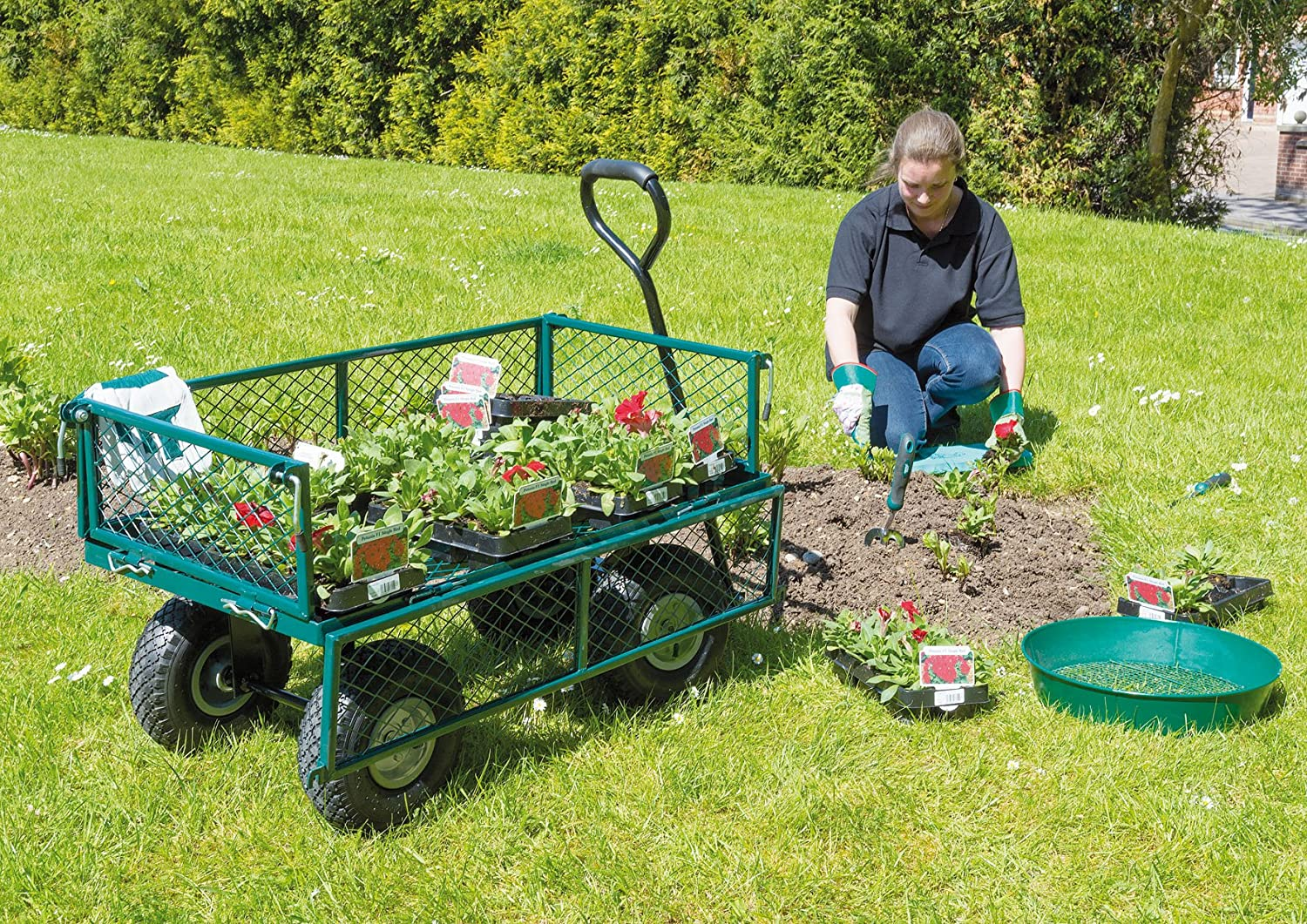 The Draper Steel Mesh is a heavy duty garden trolley.