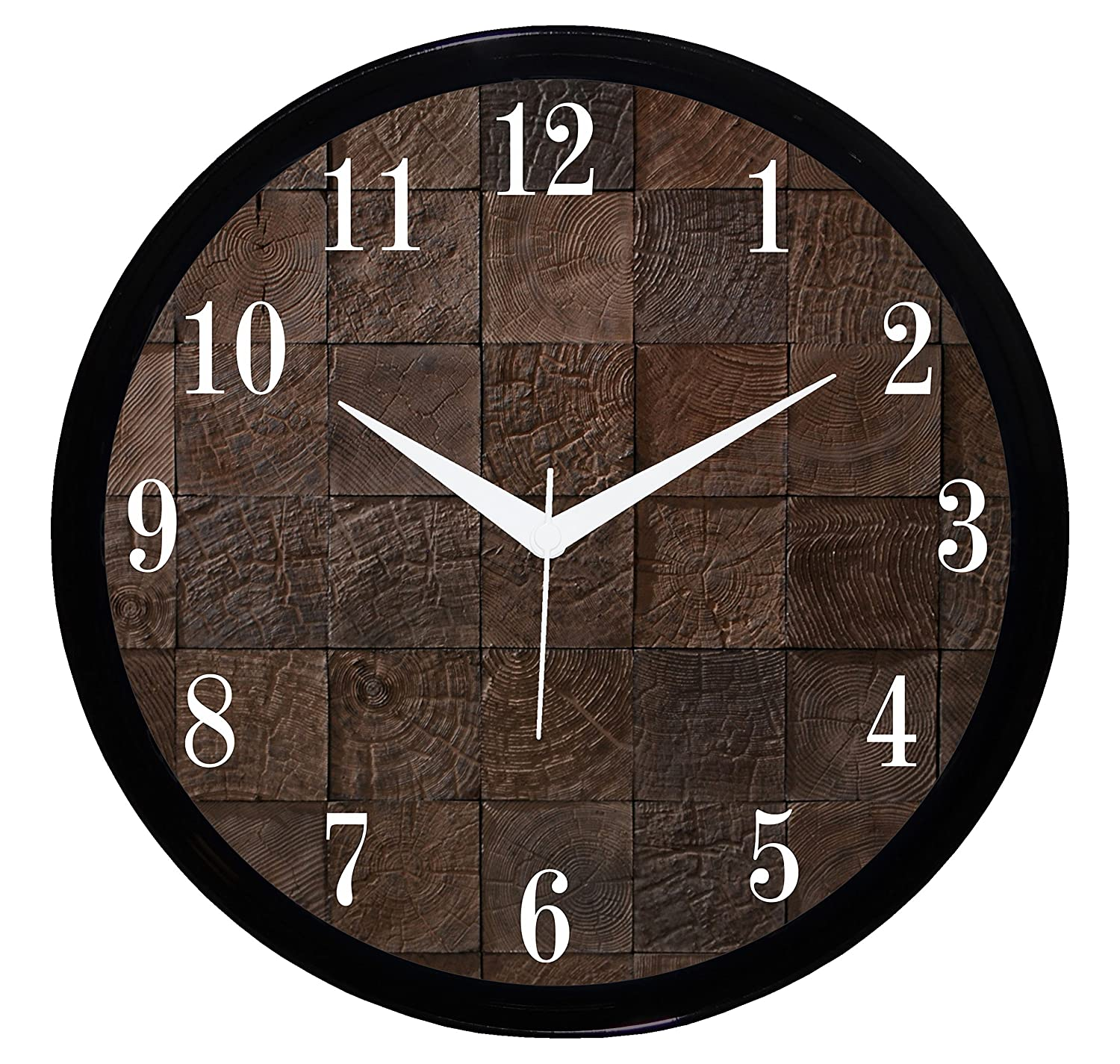 Round Wooden Look Wall Clock on heavenkart