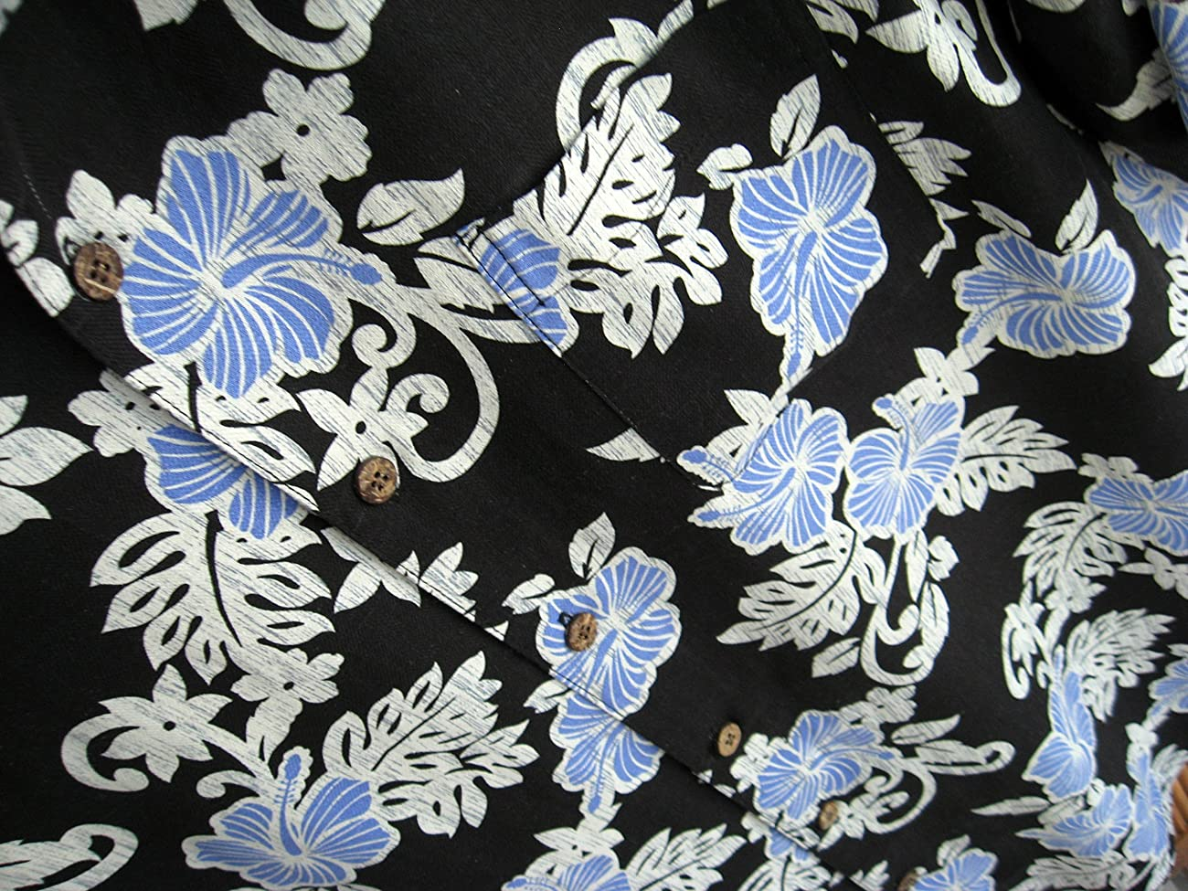 Mens Hawaiian Silk Camp Shirt Black Blue Hibiscus Casual 2